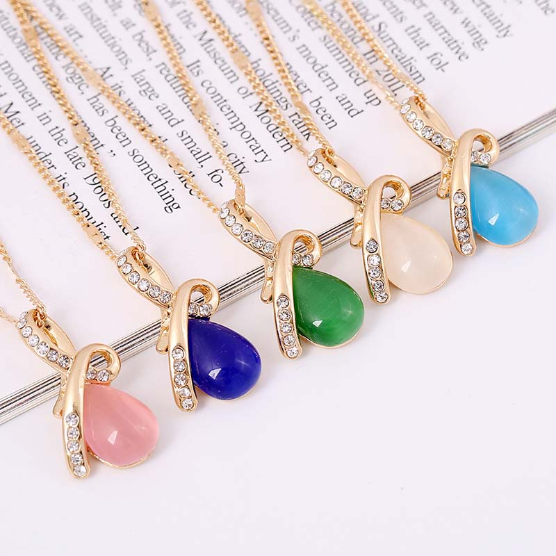Big Discount Simple Design Water Drop Chain Necklaces Opal Friend Christmas Gift Pendants Fashion Women Jewelry(China (Mainland))