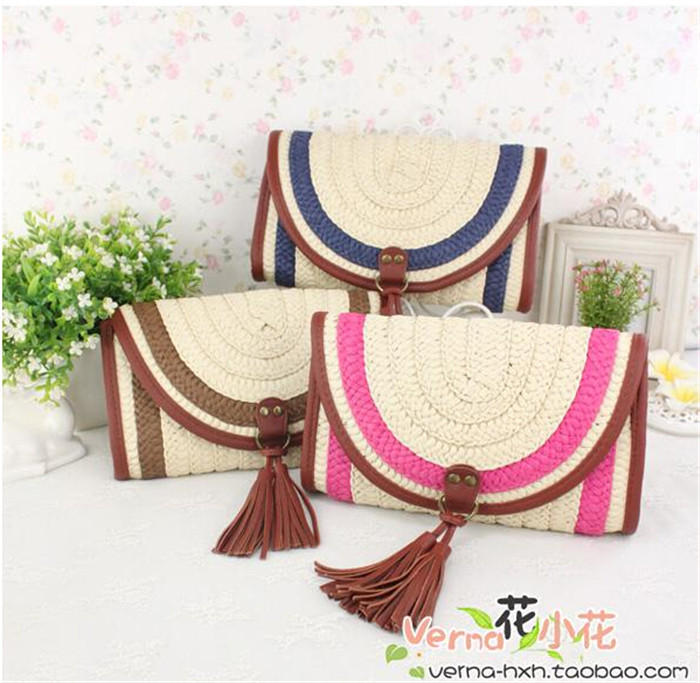 Factory wholesale 2014 new Crossbody Bag tassel folk style summer straw bag special explosion models(China (Mainland))