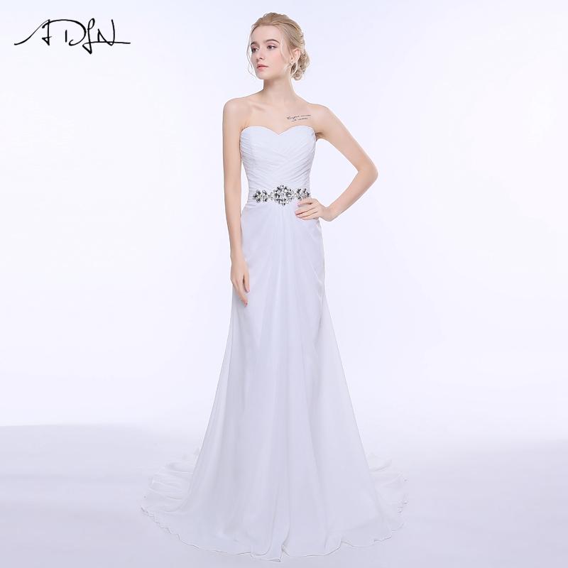 ADLN Real Photo Chiffon Wedding Dresses Beach Vestidos De Novia Boho Bridal Gowns White/ Ivory Color Plus Size In Stock(China (Mainland))