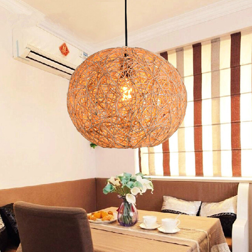 Фотография 2015 Modern Simple Led Country Pastoral Hand Knitting Bamboo Pendant Light For Dining Room Balcony With 5W Led E27 Bulb