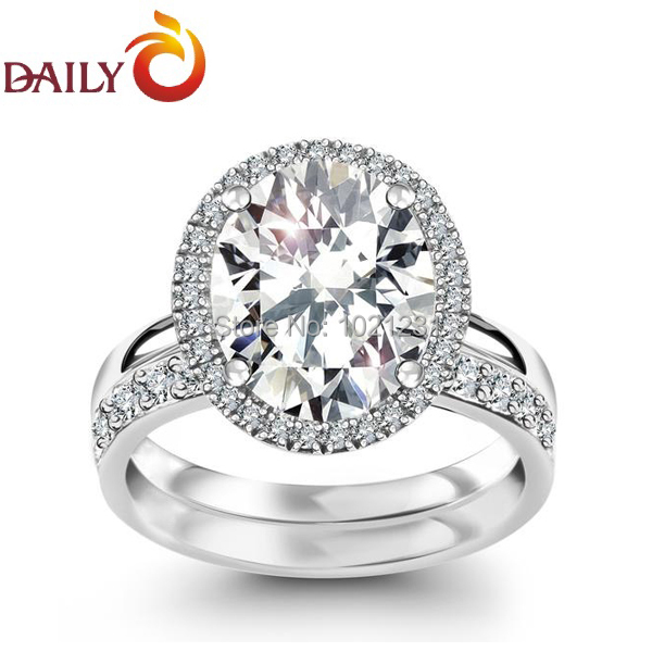 Engagement wedding rings set for women silver tone oval cz for Promise engagement wedding ring set