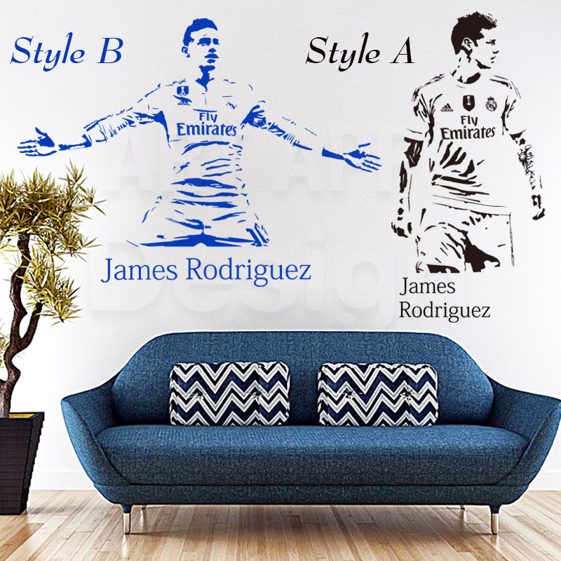 Art fashion design home decoration cheap vinyl football player James wall sticker removable soccer sports PVC decals in bedroom(China (Mainland))