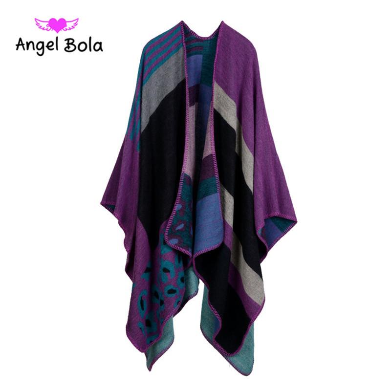 Angle Bola Shawl Scarf For Women Pashmina Luxury Brand Knitting Winter Wrap Ponchos and Capes Cashmere Scarf Plaid Poncho Shawls(China (Mainland))