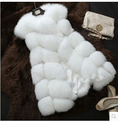 New 2016 Arrival Winter Warm Fashion Women Import Coat Fur Vest High-Grade Faux Fur Coat Fox Fur Long Vest Plus Size: S-XXXXL