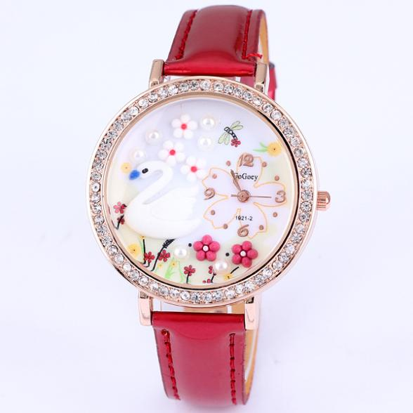 New watch brand luxury leather crystal Gogoey swan flower pearl rose gold plated wrist watch famous name fashion designer(China (Mainland))