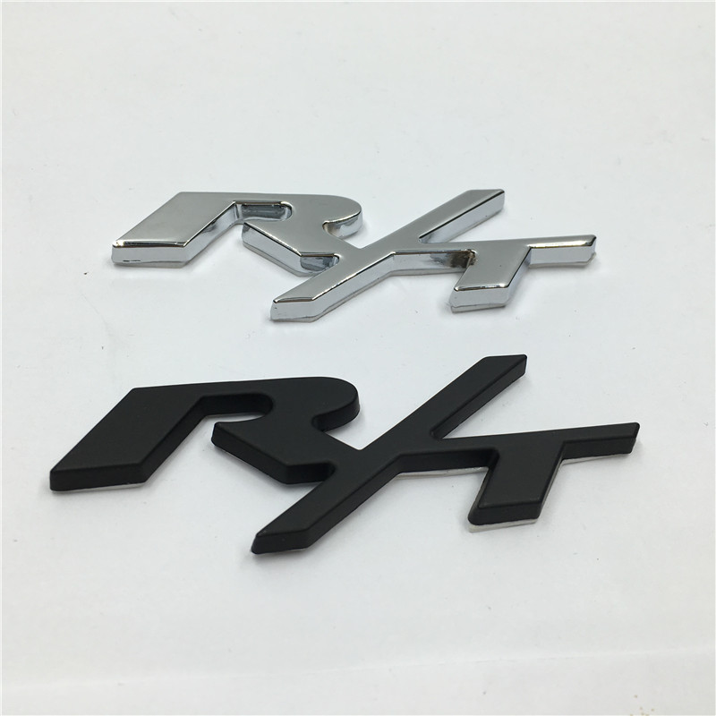 RT R/T Black/Silver Metal Car Rear Trunk Emblem Badge Sticker for Dodge Challenger Charger(China (Mainland))