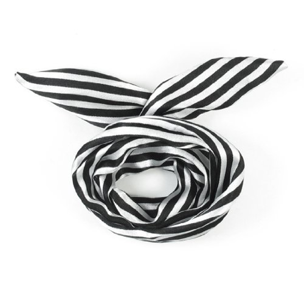 Free Shipping,Women Striped Print Fabric Coated Wire Hair Wrap Scarf Head Band White Black(China (Mainland))