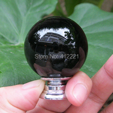 Free Shipping 10P/L Modern dia. 30mm / 1.18 inch Black Crystal Glass Stone Decorative furniture drawer knobs in kitchen in Stock(China (Mainland))