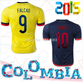 Free Shipping Colombia jersey 2015 Top Quality Home/Away Colombia Soccer Shirt JAMES FALCAO 15 16 Colombia Football Jersey(China (Mainland))