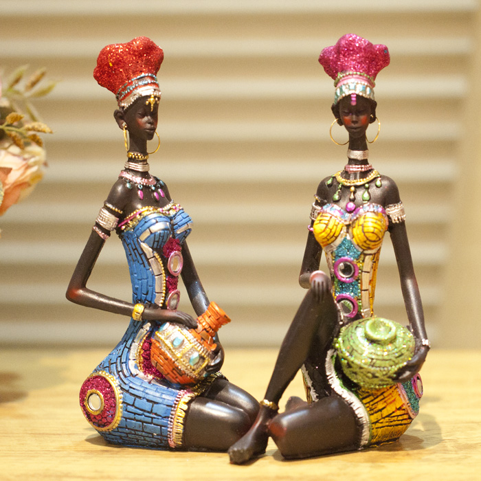 Free shipping fashion African figures ornaments resin decor desktop decoration wedding christmas unique crafts doll Set 2pcs(China (Mainland))
