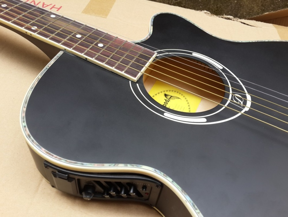 black color thin body acoustic guitar with equalizer free shipping free string(China (Mainland))