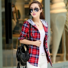 New Arrival 2016 Autumn Cotton Long Sleeve Red Checked Plaid Shirt Women Hoodie Casual Fit Blouse Plus Size Sweatshirt(China (Mainland))