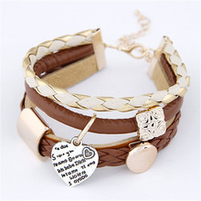 2015 Fashion Trendy Metal  Heart Leather Multi- Bracelet For Woman Jewelry Wholesale(China (Mainland))