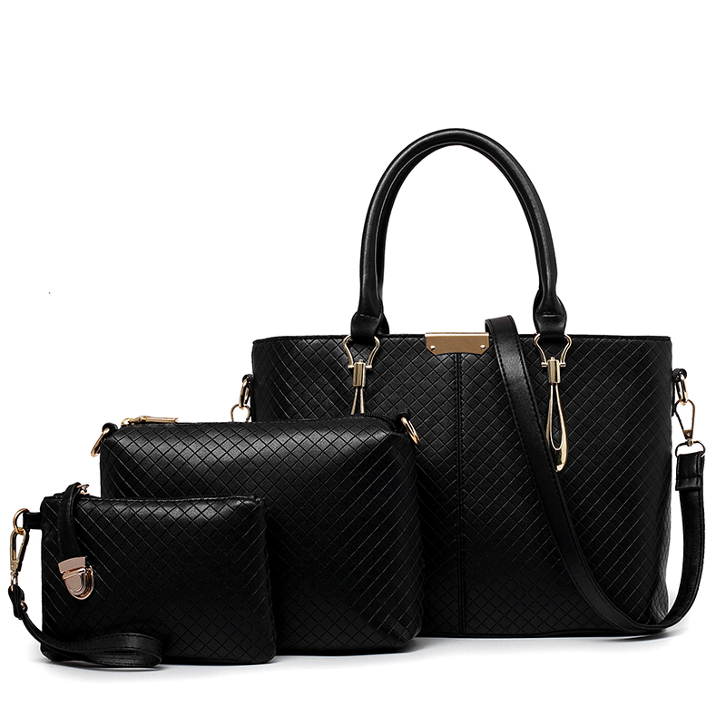 2016 Women Shoulder Bags+Clutch+Wallet Casual Handbags Embossed Lattice Leather Women Messenger Bags Composite Bags 3PCS/LOT