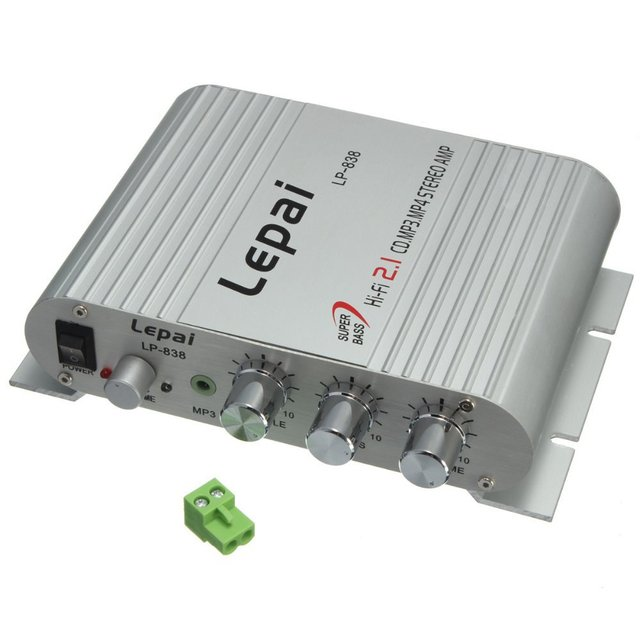 Lepai LP-838 AMPLIFICATORE AUDIO STEREO Hi-Fi Subwoofer 2.1 3 per Car PC Ipod MP3 mini Car Amplifier
