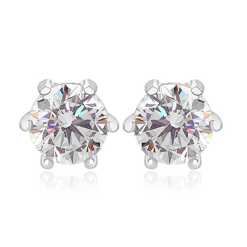 5mm S925 sterling silver hearts and arrows Switzerland imported zircon stud earrings(China (Mainland))