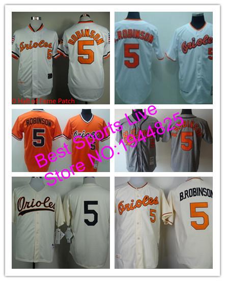 Brooks Robinson jersey Baltimore Orioles #5 Brooks Robinson Men's New Stitched orange black grey white orange Baseball jersey(China (Mainland))