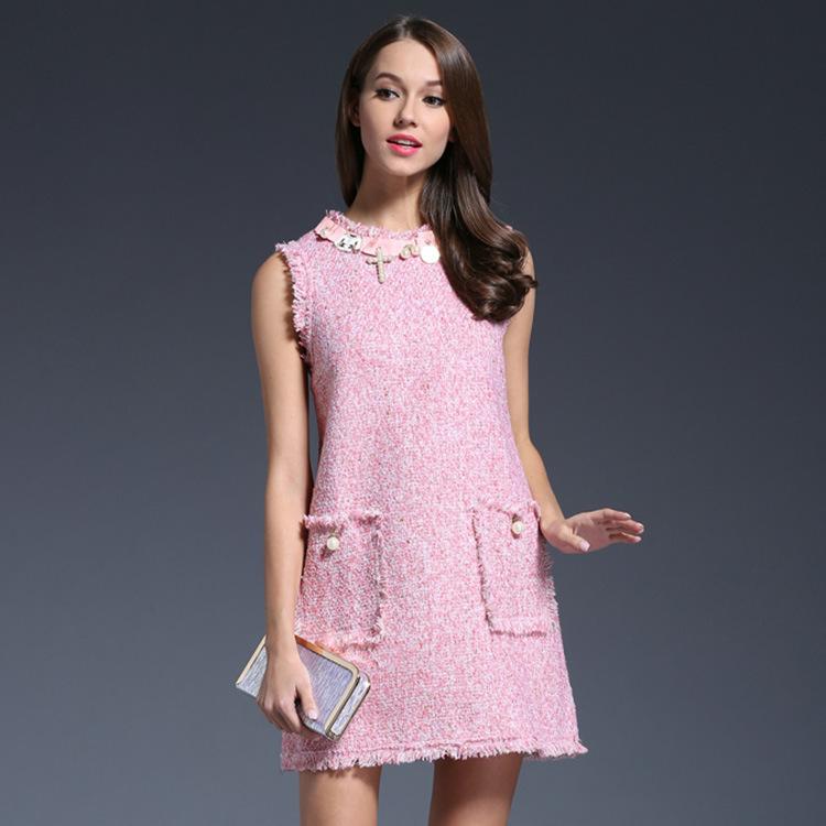 sleeveless dress for elegant autumn and winter pink beaded three-dimensional ornamentation loose Tweed tassel women dress(China (Mainland))