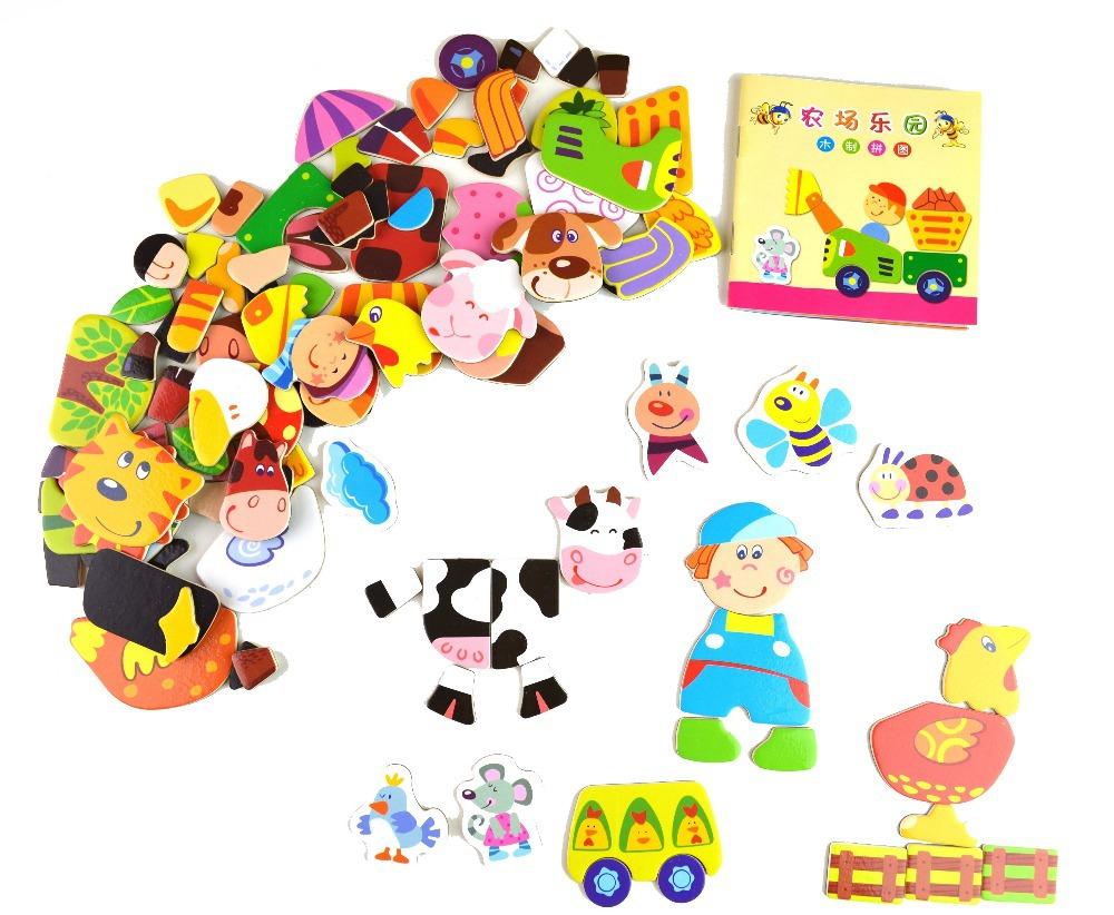 Multifunctional Educational Wood Animals Magnetic Puzzle Toys for Children Fridge Magnets(China (Mainland))