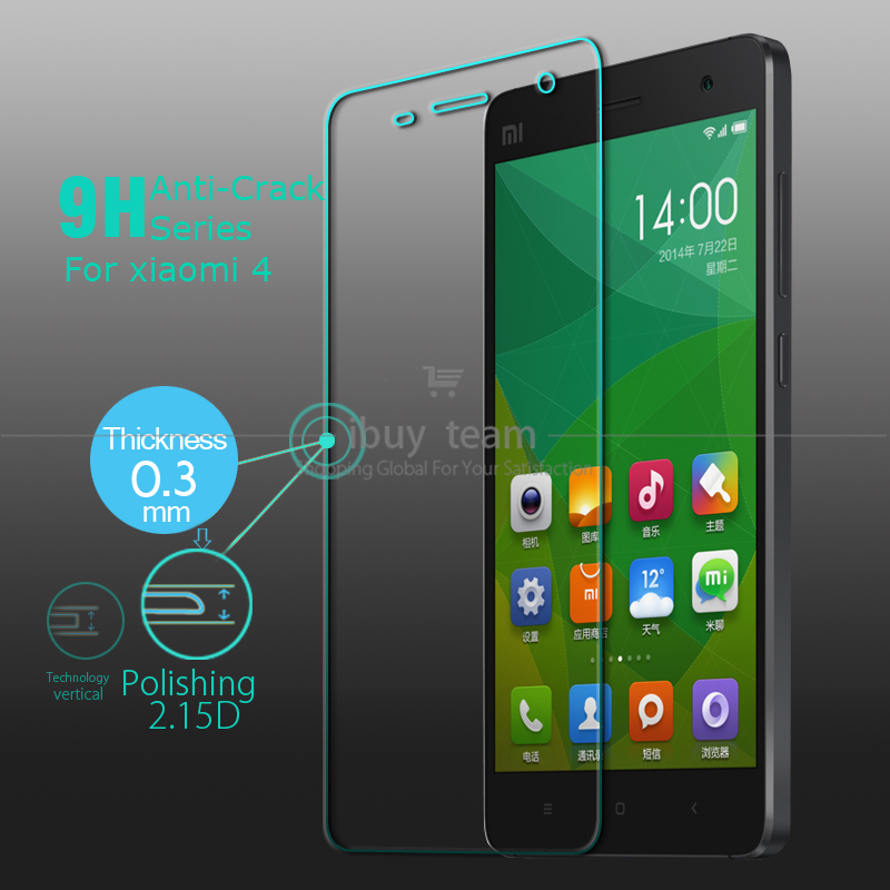 Tempered Glass for Xiaomi Mi 4 M4 Mi4 Screen Protective Film High Quality Screen Guard Protector + Valid Tracking Number(China (Mainland))