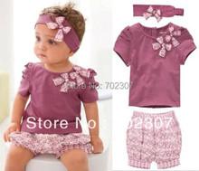 new design girl t shirt+shorts+coif summer purple suits child 3pcs set baby summer clothing  5sets/lot QZ01(China (Mainland))