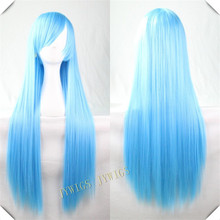 Blue Light Hair 100CM Long Straight Cosplay Wigs Peruca Synthetic Wig Wigs Heat Resistant Wig Blue Light Hair(China (Mainland))