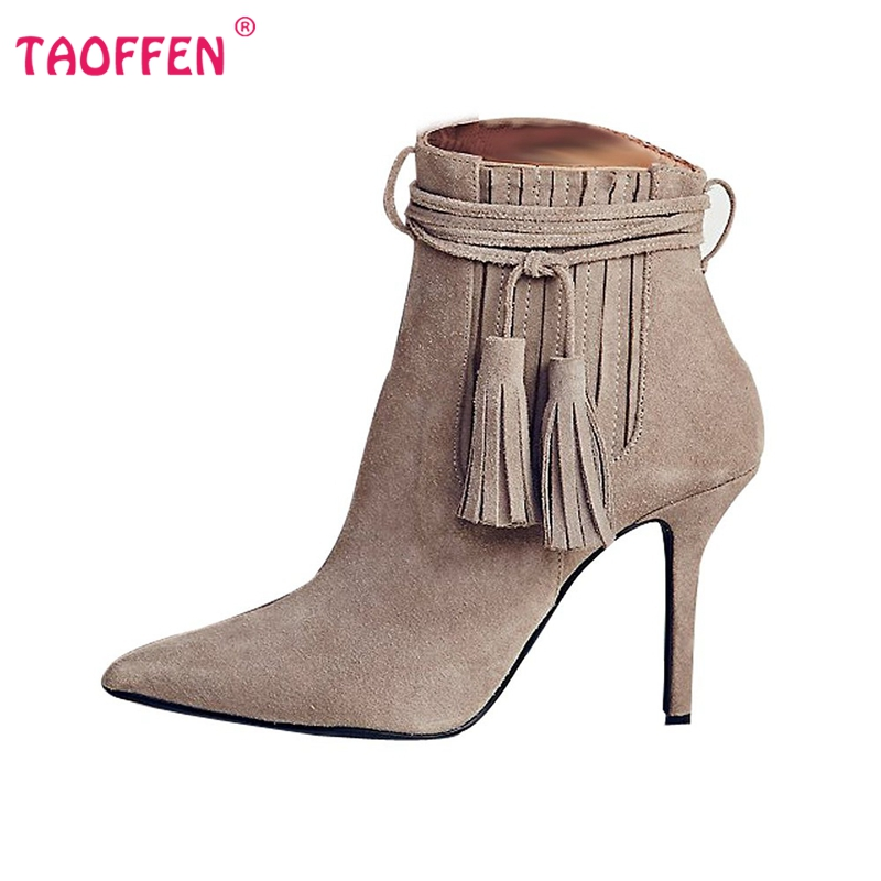 Фотография Women Pointed Toe Thin Heel Ankle Boots Woman Fashion Tassel Boots Ladies Brand New Cross Strap Heeled Shoes Size 35-46 B293
