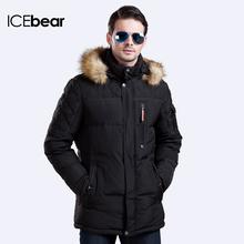 ICEbear Длинный зимний пуховик Мех на съёмном капюшоне создаёт стильный вид Пальто для мужчин На рукаве карман Теплый Зимний Мужской Пуховик 15M927D (China (Mainland))
