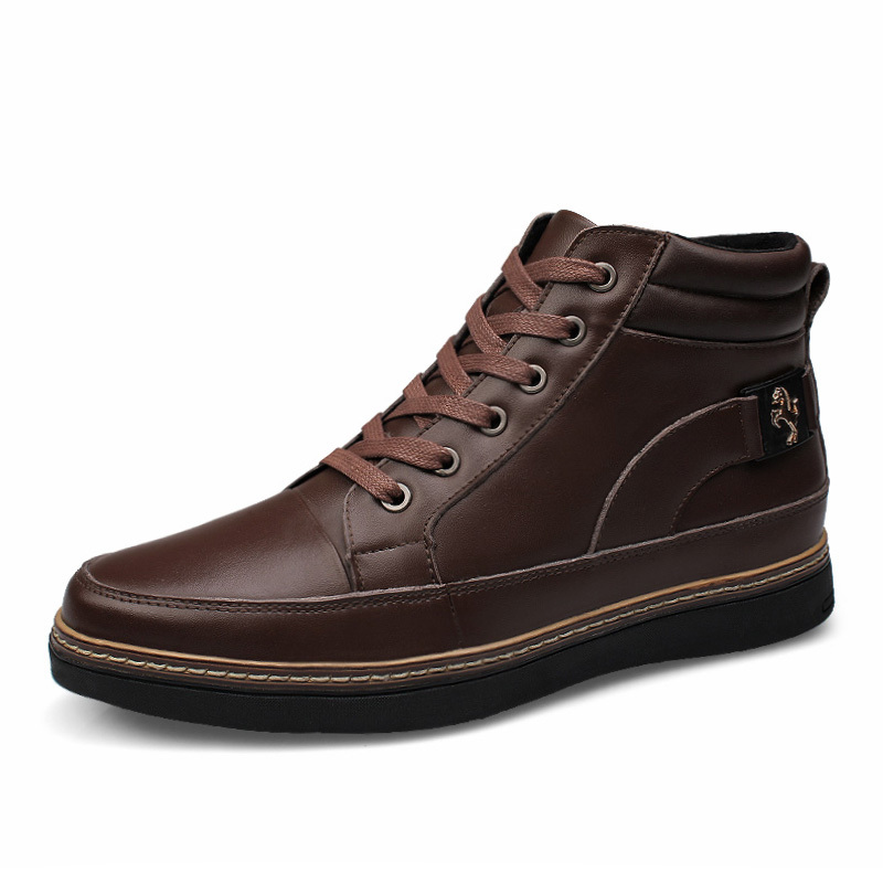 winter men warm genuine leather boots soft bottom leather fashion slip leisure men's shoes special offer free shipping(China (Mainland))