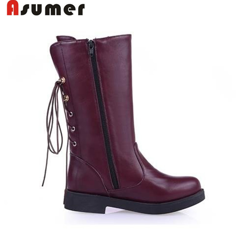 AISIMI 2015 new fashion flat mid calf boots winter lace up women boots winter half knee boots big size dorp shipping<br><br>Aliexpress