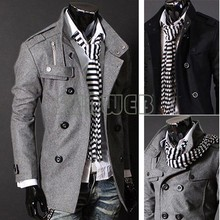 2012 Men Slim Designed Jacket Hot Stylish Woolen Jacket Double Pea Trench Coat black dropshipping 22(China (Mainland))