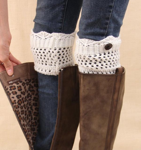 2015 женщины зимние вязать загрузки Верхpers носки для леди крючком выдалбливают ...