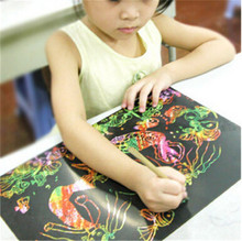 High Quality Size 18x25cm scraping drawing paper painting learning & education toys Environmental protection 10pcs/lot  CX678476(China (Mainland))