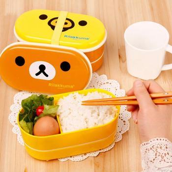 2 Слоя Мультфильм Rilakkuma Lunchbox Bento Lunch Box Пищевых Контейнеров С Палочки Для Еды Японский Стиль Пластиковые коробки для Завтрака