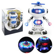 360 Вращающихся Танцы Робот Дети Музыкальные Ходить Игрушки Облегчить Электронные Роботы Рождественский Подарок На День Рождения Для Детей(China (Mainland))