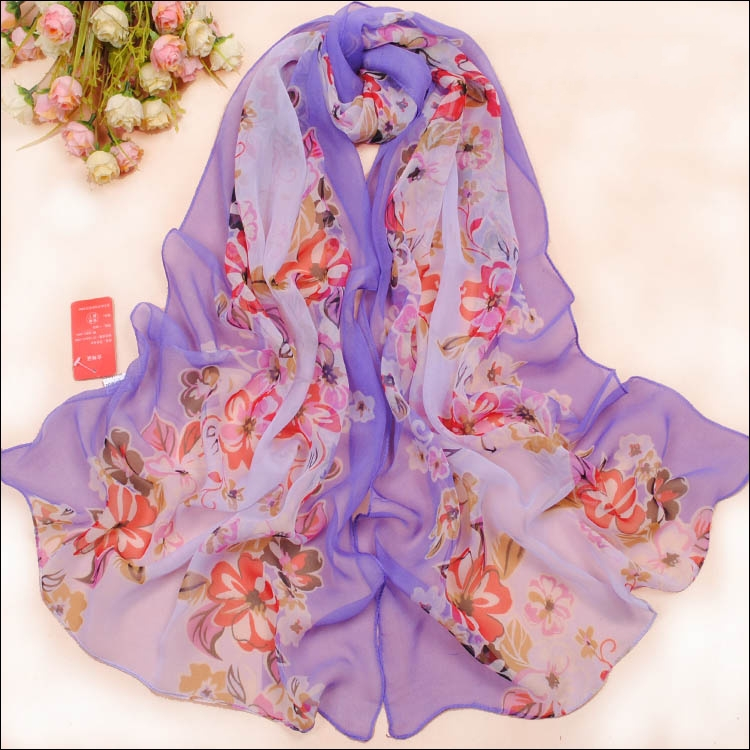 new 2015 floral chiffon georgette shawl scarf women spring and autumn warm scarves Bohemian wraps WJ-138(China (Mainland))