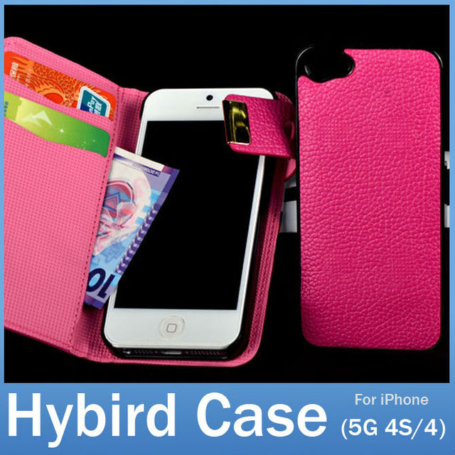 New Arrival Magnetic Clasp 2 in 1 Hybird Card Holder Wallet PU Leather Flip Case Cover for Apple iPhone 5S 5 5G 4S 4 FREE SHIP