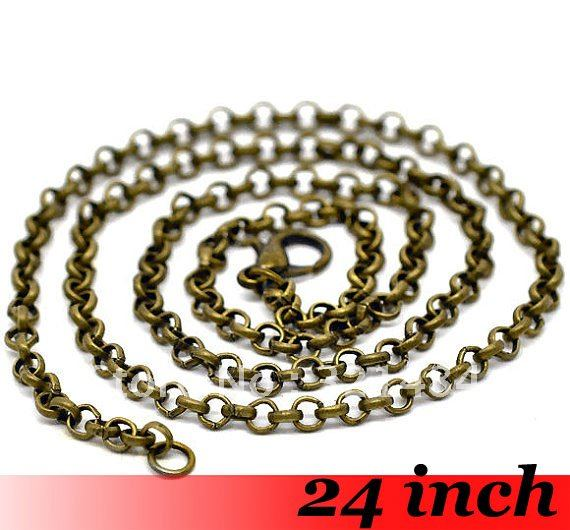 Free Ship! 100piece 2.5mm 24 Antique bronze Tone Metal Rolo Link Chain Necklace with Lobster Clasp Jewelry DIY findings<br><br>Aliexpress