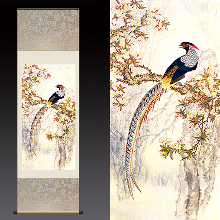 Modern Home Decorations Painting Silk Wall Art Print, Flower Bird Contemporary Art Impressionist Paintings Living Room Decor