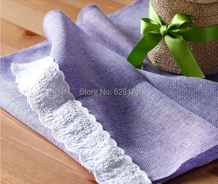 """Free Shipping 10pcs/lot 12"""" W x108"""" L Lavender Burlap Linen Table Runners with Cotton Lace For Wedding Party Table Decoration(China (Mainland))"""