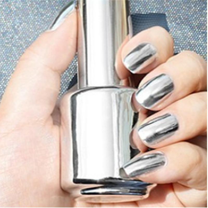 2 Bottles 15ml Silver Mirror Effect Nail Polish Varnish Top Coat ...
