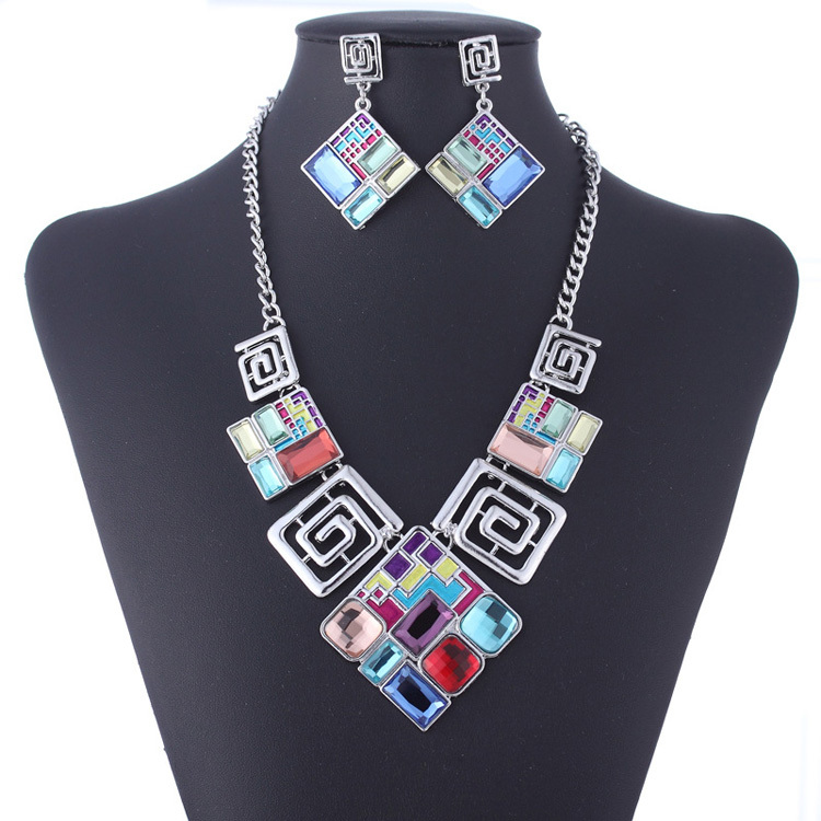 New style Color acrylic geometric square Silver Plated earrings necklace suits Jewelry Set 1 color Collar Free Shipping FHS0048<br><br>Aliexpress