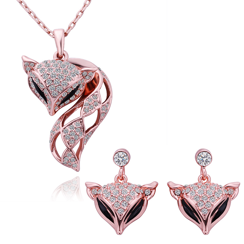 18KGP 18K Rose Gold Plated Cute Fox Necklace Earrings Exquisite Party Costume Jewelry Set Women GJS-191 - Bottom Price(B & P store)