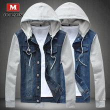 2015 New arrival jeans jacket men with hooded casual single breasted jacket men spring autumn patchwork denim jacket slim pocket
