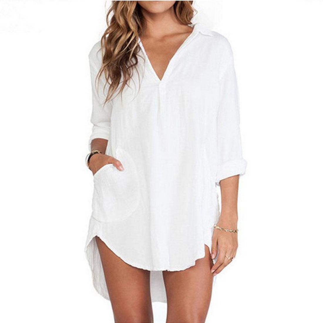 Women Blouse White Pocket 32