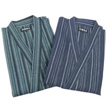 Pajamas Men Kimono Pajama Set Bathrobe Stripe Cotton Sleepwear Pyjamas Men Lounge Pajama Set(China (Mainland))