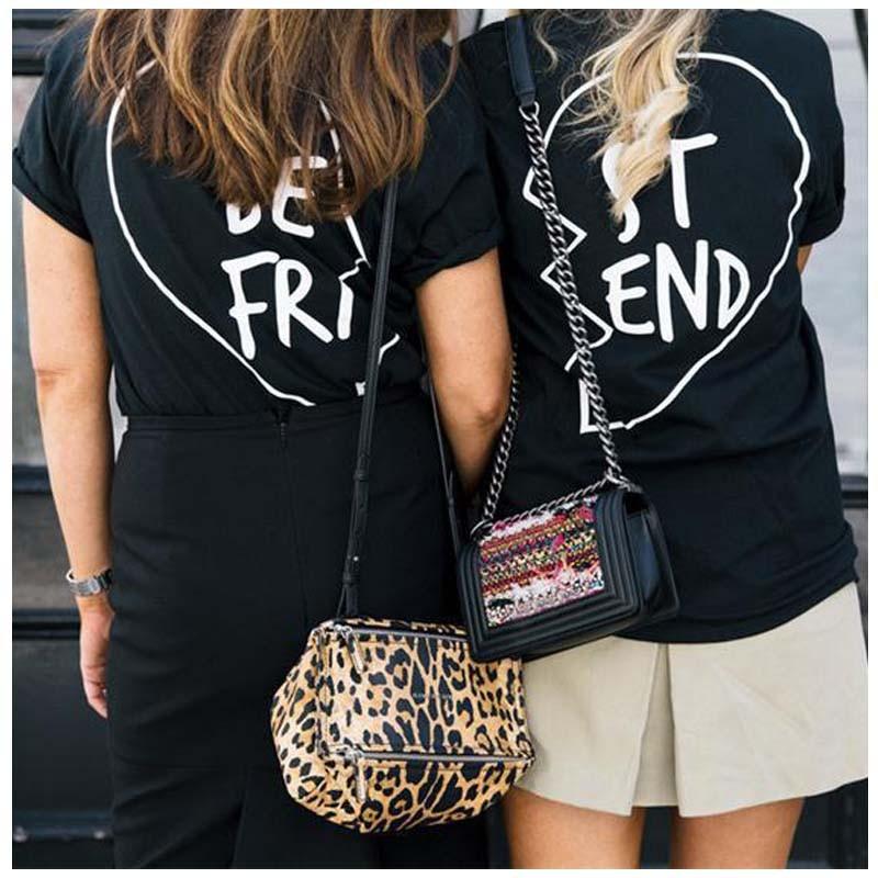 Best Friends T shirt Summer 2016 Punk Rock BEST FRIEND Graphic Tees Women Printed Casual T Shirt Women