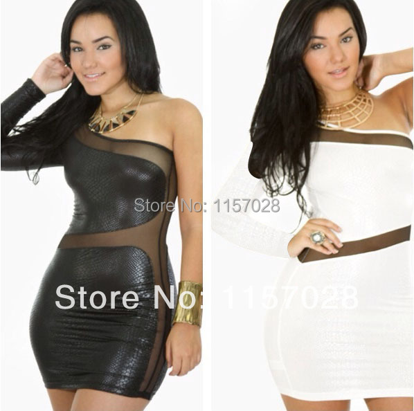Snakeskin & Sheer Lace Women Summer Dress Sexy One Shoulder Mini Stretchy Bodycon Bandage Party Dresses New Plus Size Club Wear(China (Mainland))