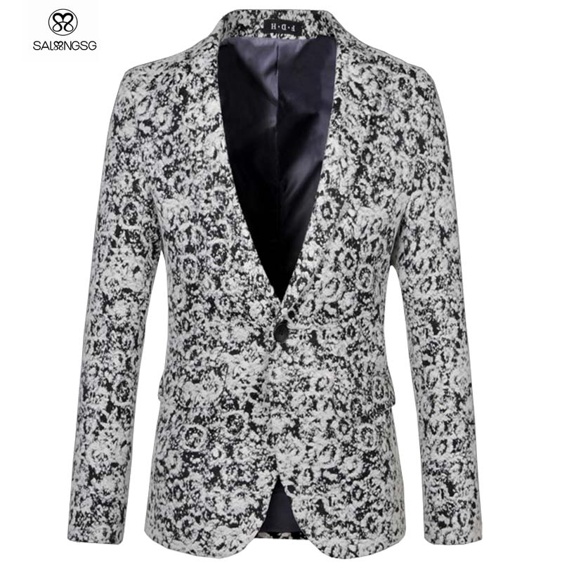 Здесь продается  Plus Size 5XL Men Floral Blazer Luxury Slim Fit Brand Designs Man Blazers Jacket For Singer Stage Show Gray Woolen Cloth Jaqueta  Одежда и аксессуары