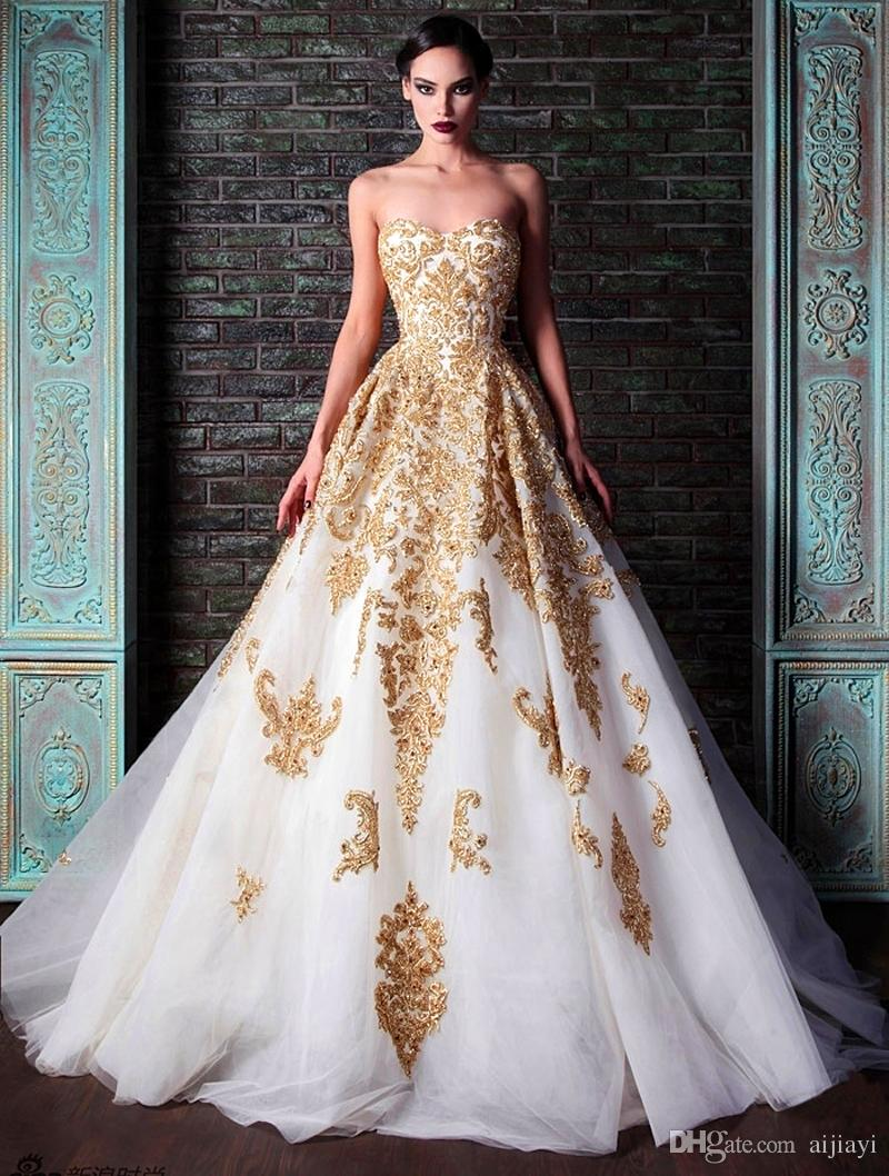 Online Buy Wholesale sleeveless golden appliques ball gown evening ...